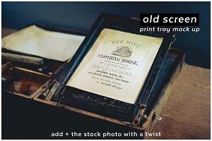 add + oldscreen 9 print tray mockup