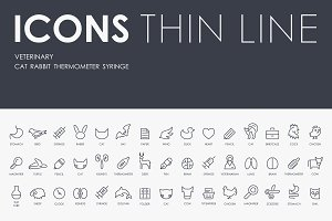 Veterinary thinline icons