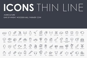 Agriculture thinline icons