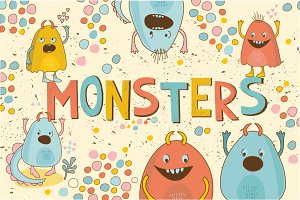 Cute Little Monsters(vector,jpg,png)