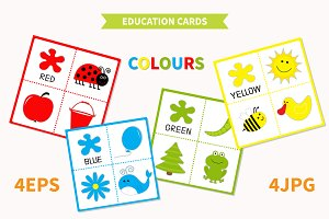 Education cards for kids. Colours.