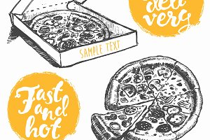 Hand drawn pizza with badges
