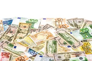 American dollars and euro banknote