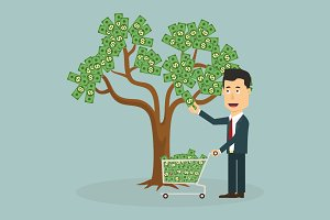 Businessman plucking money from tree