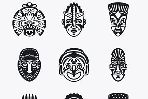 Tribal, ethnic mask icons