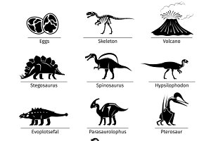 Dinosaur icons vector