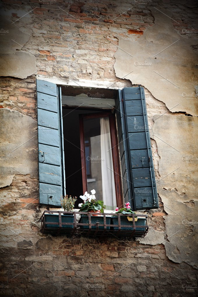 Bella Italia series. Venice - the Pearl of Italy. Window of an old Venice hose. Venice, Italy. - Architecture