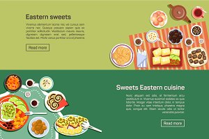 Eastern sweets dishes, flat food