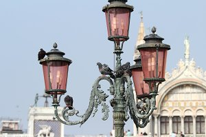 Bella Italia series. Venice - the Pearl of Italy. Ornate lamposts in Piazza San Marco. Venice, Italy.