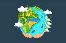 Earth day concept, flat illustration