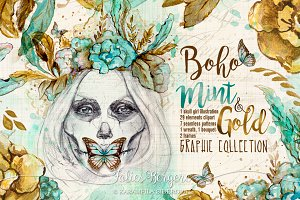 Boho Mint & Gold Graphic Collection