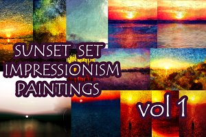 SUNSET IMPRESSIONISM PAINTINGS SET