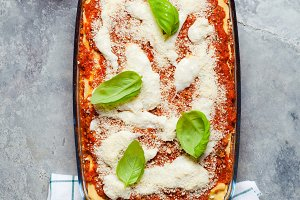 lasagna dinner with sauce bolognese