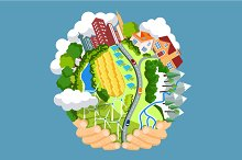 Earth day concept. Flat illustration