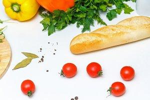 Still life. Food. Bread and tomato.