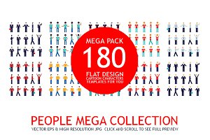 180 People Mega Collection Flat icon