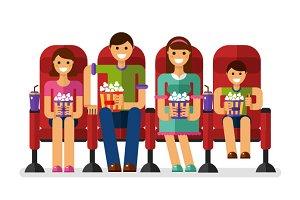 Happy Family in The Cinema