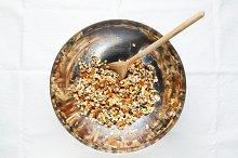 preparation of granola.