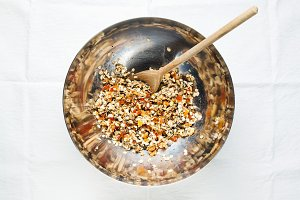 preparation of granola.