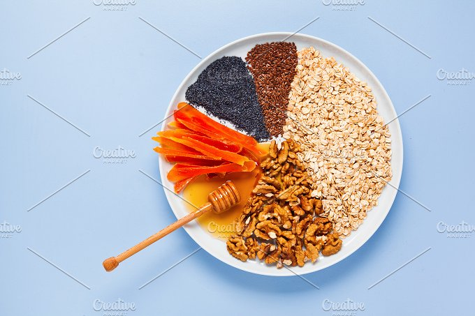Ingredients for granola. pie chart - Food & Drink