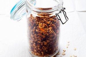 granola in an airtight jar