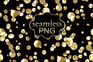 Digital seamless gold confetti PNG .