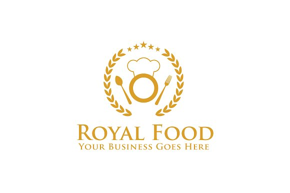 royal food logo template logo templates creative market. Black Bedroom Furniture Sets. Home Design Ideas