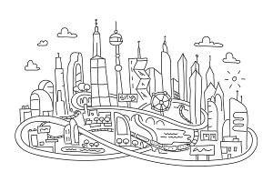 Hand line drawing, futuristic city