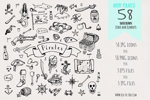 Hand drawn Pirates icons & elements