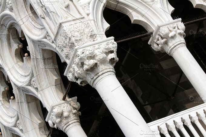 Columns of the Doge's Palace. Venice, Italy. - Architecture