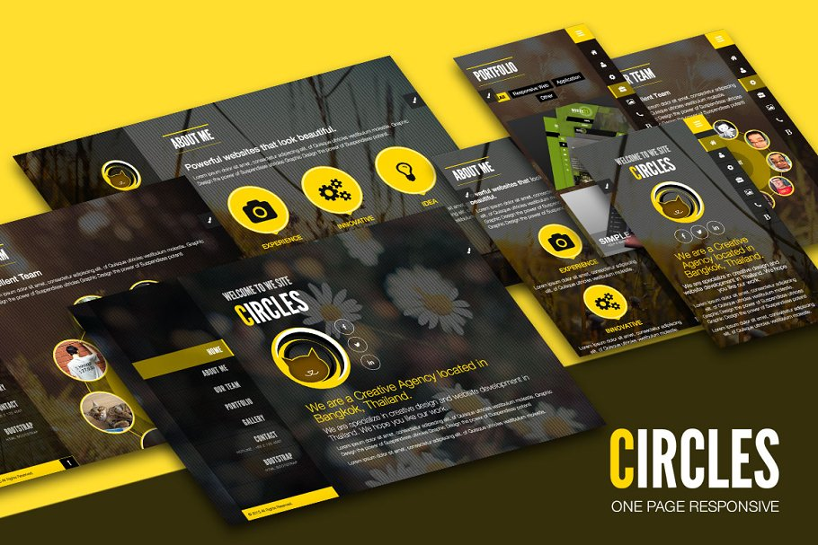 Circle - One Page Responsive ~ HTML/CSS Themes ~ Creative Market