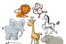 Cartoon safari and jungle animals