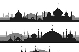 Islamic cityscape with mosque