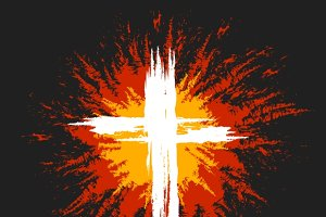 Grunge burning christian cross
