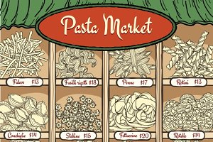 Different types of pasta with prices