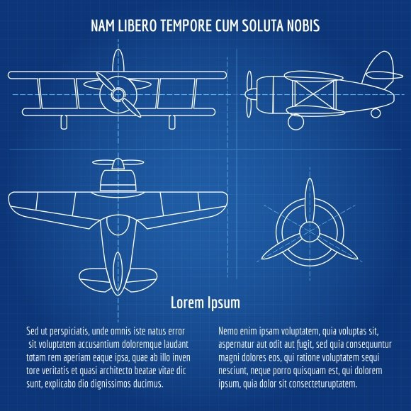 Plane vector blueprint graphics creative market malvernweather Choice Image