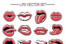Female lips expression set