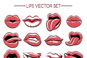 Female lips expression set