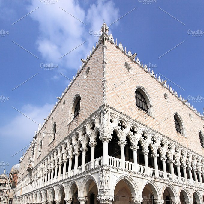 Doge's Palace by St. Mark's Square, Venice. Veneto, Italy - Architecture