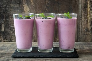 Fresh blueberry smoothies