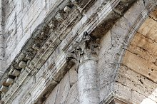 Detail of Colosseum amphitheatre. Rome, Lazio, Italy, Europe