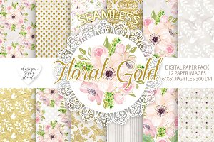Floral Gold seamless digital paper