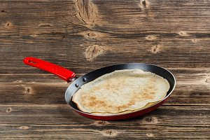 Frying pan with pancake