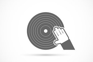 Hand scratching vinyl record icon