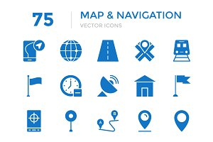 75 Maps and Navigation Vector Icons
