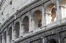 Detail of Colosseum amphitheater. Rome, Lazio, Italy, Europe