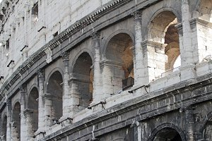 Detail of Colosseum amphitheater. Rome, Lazio, Italy, Europe