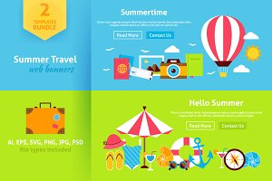 Summer Travel Flat Web Banners