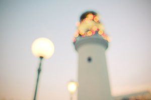 Lighthouse with christmas ornaments