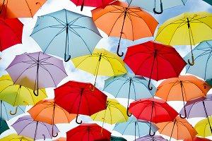 umbrellas on the sky